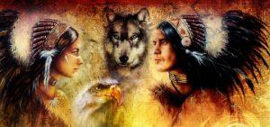 Intiaanipäällikkö, poika ja susi